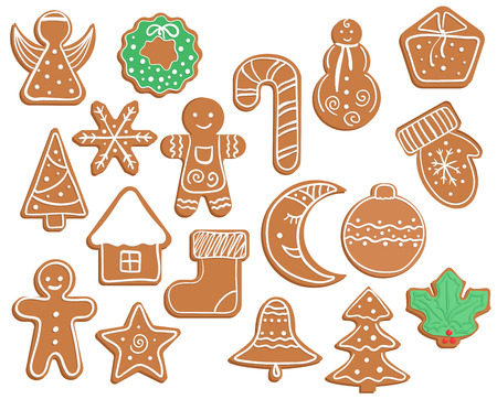 Gingerbread Christmas and New year cookies on white background. Illustration