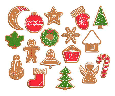 Gingerbread cookies on white background. Snowflake, glove, star, man, angel, candy, moon, Christmas tree, wreath, house, bell, ball, gift box, holly berry, sock shapes Illustration