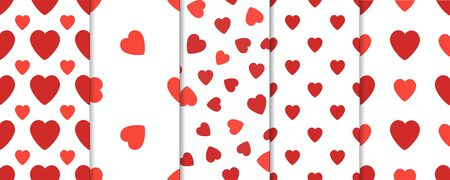 february 14th: Set of 5 seamless pattern with hearts. Valentines Day background