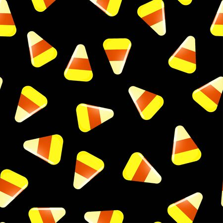 Seamless Halloween pattern with candies on black