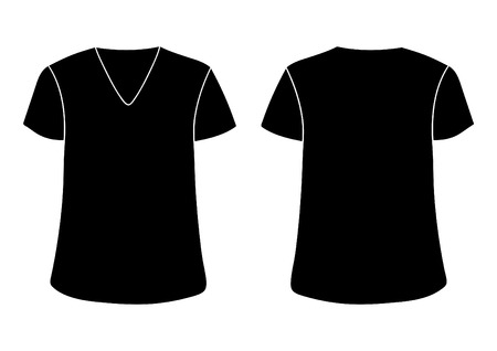 Vector males V t-shirt template. Front & back sides mock up. Black isolated on white background