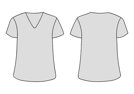 White vector T-shirt. Front and back sides.