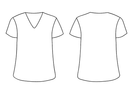 White vector males , womans V-neckline T-shirt. Front back sides mock up. Isolated on white