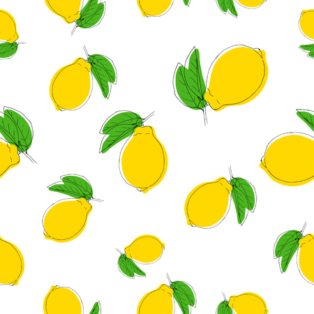 Pattern with lemons on white.