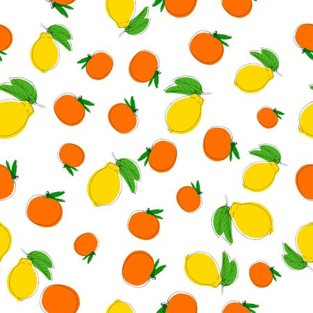 Pattern background with hand drawn lemons in vintage style. On white. Use for textile, fabric, paper, web, page, wallpaper etc. Ilustração