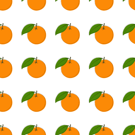 Vector seamless pattern background with hand drawn oranges in vintage style. On white. Use for textile, fabric, paper, web, page, wallpaper etc.
