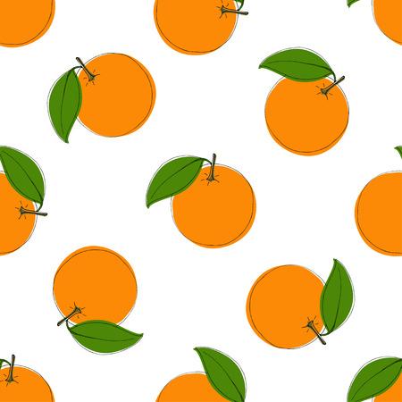 Seamless vector pattern with hand drawn oranges. Vintage style. On white. Use for textile, fabric, paper, web, page, wallpaper etc.