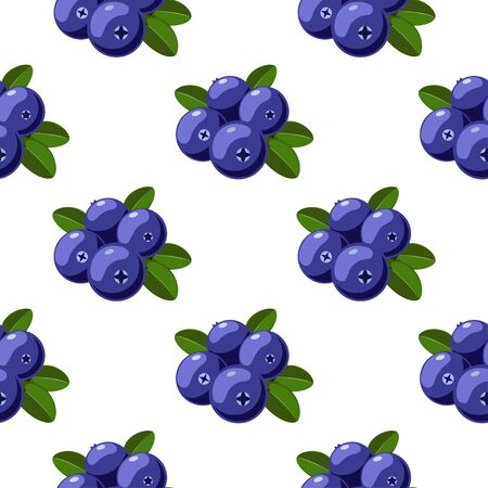 Vector seamless pattern with cartoon cranberries with green leaves isolated on a white. Ilustração