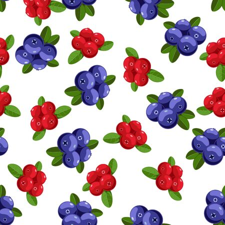 Vector seamless pattern with cartoon bilberries with green leaves isolated on a white. Ilustração