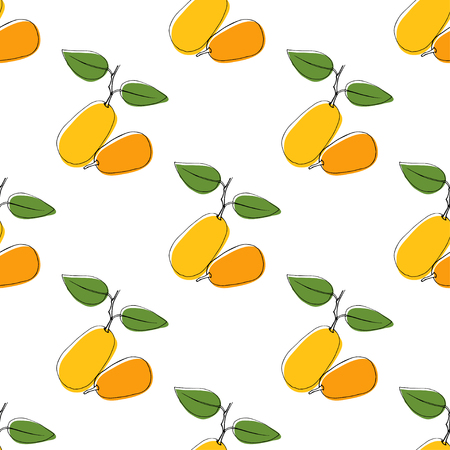 Vector seamless pattern background with hand drawn kumquat in vintage style. On white. Use for textile, fabric, paper, web, page, wallpaper, etc.
