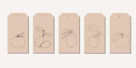 Vector tag set with vintage hand drawn citrus fruits. Ilustração