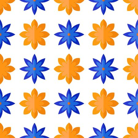 Seamless pattern with flowers in flat style on white background