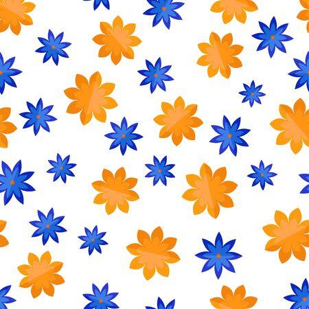 Seamless pattern with random flowers in flat style Ilustração