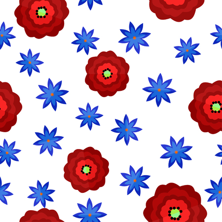 Seamless pattern with red and blue flowers in flat style