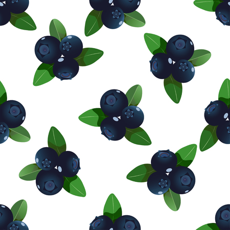 Vector seamless pattern with cartoon blueberries with green leaves isolated on a white.