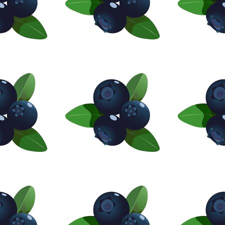 Vector seamless pattern with symmetric cartoon blueberries with green leaves isolated on a white. Ilustração
