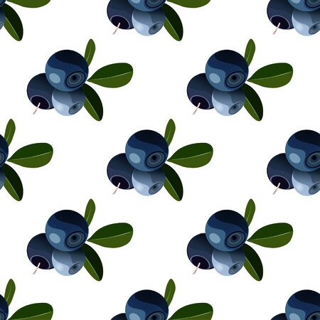 Vector seamless pattern with cartoon bilberries with green leaves isolated on a white. Cute illustration used for magazine, book, poster, card, menu cover, tag, textile, badge, web pages.