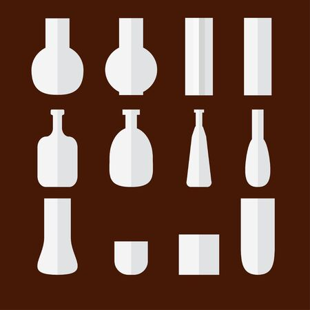 Vector set of flat vases on brown background. Ilustração
