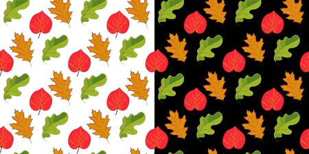 Set of two seamless pattern with leaves on white and black background. Hand drawn elements