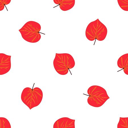 Seamless pattern with hand drawn leaf on white background.