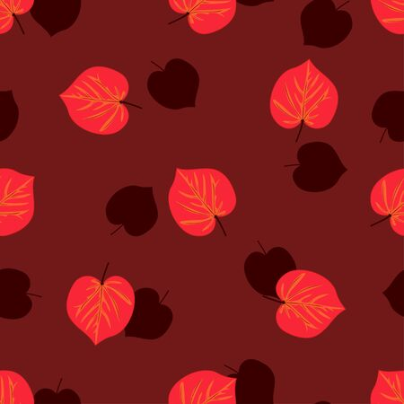 Seamless pattern with hand drawn autumn leaves on red background.