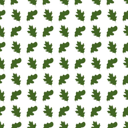 Creative Seamless pattern with oak leaves on white background.