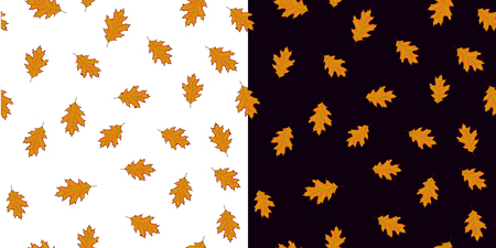 Seamless pattern with orangeleaves on white and black background.