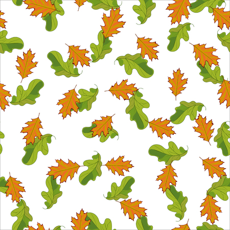 Seamless pattern with hand drawn cute green and orange leaves. randomly posted on white background.