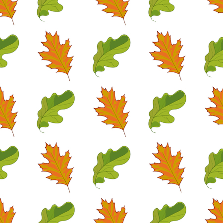 Creative Seamless pattern with hand drawn green and orange leaves on white background. Ilustração