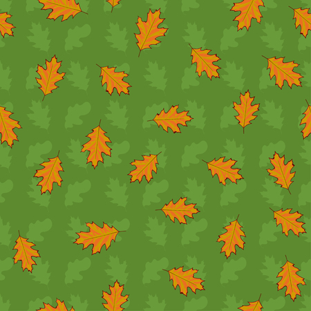 Seamless pattern with hand drawn green and orange leaves on green background.