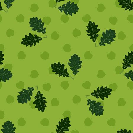 Seamless pattern with hand drawn leaves on white background. Ilustração
