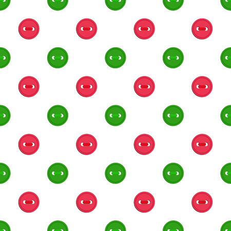 A Vector seamless pattern with green abd red buttons on white background. For thematic invitation, scrap paper, wallpaper, textile, fabric, web page, cover, etc.