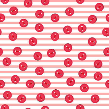 Vector seamless pattern with colorful red buttons on lined background. For thematic invitation, scrap paper, wallpaper, textile, fabric, web page, cover, etc.