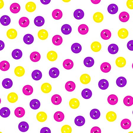 A Vector seamless pattern with colorful violet, yellow and rose magenta color buttons on white background.