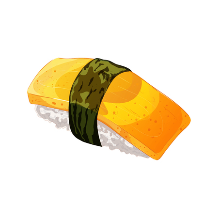 Vector illustration in cartoon style. Egg sushi with nori, Isolated on white