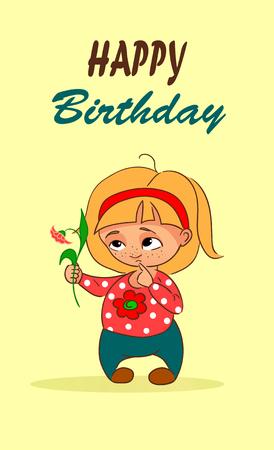 Vector Cartoon Birthday Card With Little Girl And Flower Royalty
