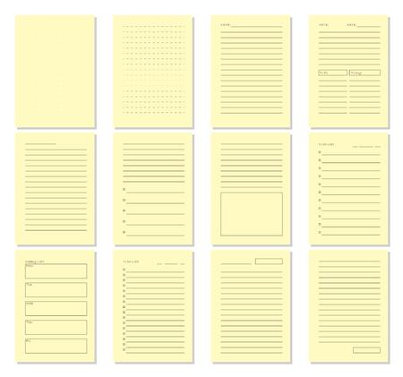 Set of blank notebook page template. Vector illustration. Ilustração