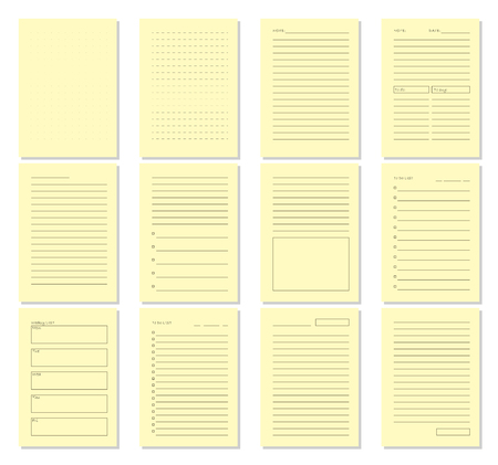 weekly: Set of blank notebook page template. Vector illustration. Illustration