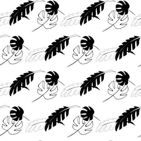 Pattern in black and white colors with tropical leaves Ilustração