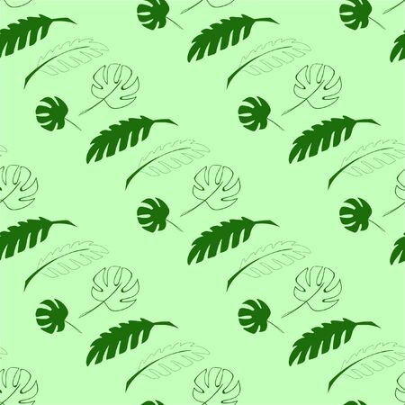 Pattern in green color with tropical leaves.