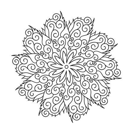 Flower round ornament, Mandala. Vintage decorative elements oriental pattern vector illustration.