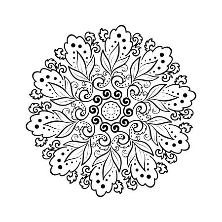 Flower round ornament. Mandala. Vintage decorative elements. Oriental vector pattern. Ottoman motifs. Coloring book page