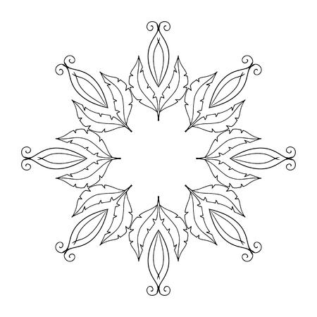 Flower vector round ornament, Mandala. Vintage decorative elements. Ottoman motifs. Coloring book page Ilustração