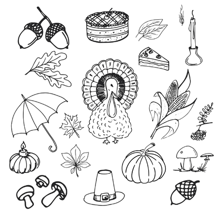 Vintage set of hand drawn traditional food sketch for autumn holiday