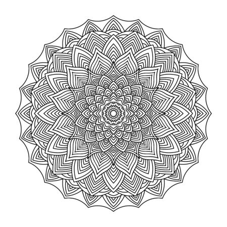 Vector ornamental mandala, printable round pattern with many details.