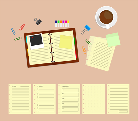 Office desk table with notebooks and coffee cup. Top view with 5 different page template.
