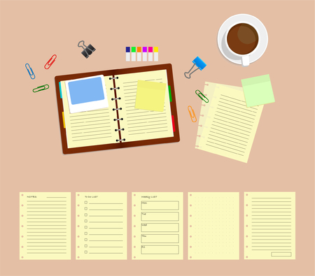 Top view template of workplace with note, cup of coffee, and 5 paper template.