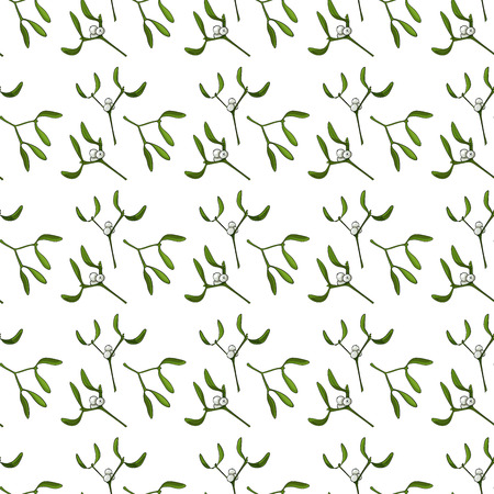 Seamless pattern for Christmas on a white background with mistletoe. Beautiful pattern for a gift wrapping paper, wallpaper, greeting cards