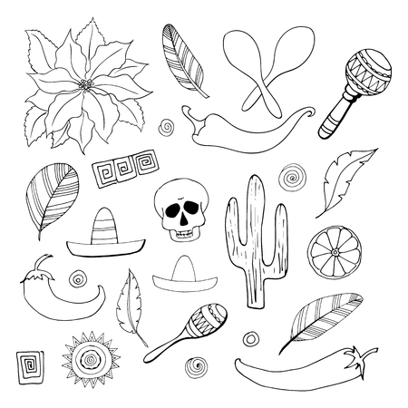 Set of 26 Mexican elements in doodle style. Independence day, Cinco de mayo celebration, party doodle decorations for your design. Ilustração