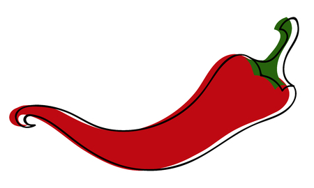 Red chili pepper isolated on white background Ilustração